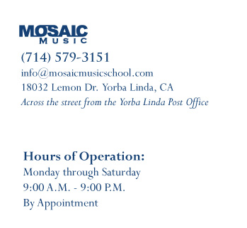 You can reach Mosaic Music by phone at (714) 579-3151, by email at info@mosaicmusicschool.com, or by visiting us in Yorba Linda at 18032 Lemon Dr. Suite A Yorba Linda, CA 92886.  Call now and schedule a complimentary first class and find out why Orange County loves Mosaic Music.