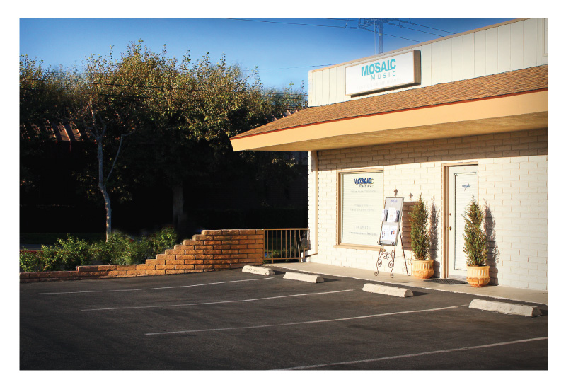 Mosaic Music is located across the street from the Yorba Linda Post Office in downtown Yorba Linda, CA.  It is on the same block as the Richard Nixon Library just west of the Imperial Highway - Yorba Linda Blvd. intersection.